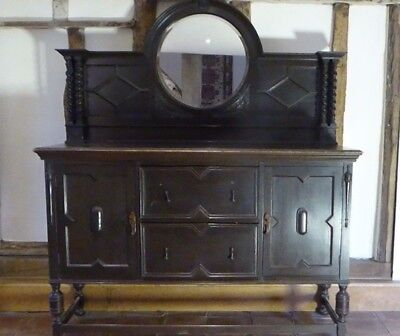 VICTORIAN OAK SIDEBOARD with mirrored upstand