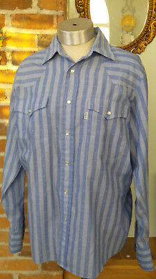 Vintage Mens Cowboy Shirt by Levi's Size M Blue and White print Pearlized Snaps