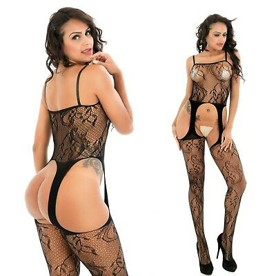 Bodystocking Reizwäsche Catsuit Straps Set Netz