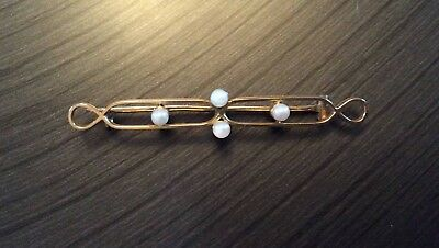 15ct Gold Bar Brooch with Cultured Pearls