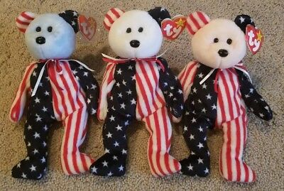 TY Beanie Baby Babies Spangle Bear Set of 3 Red White and Blue America