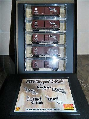 "Micro-Trains N Scale ATSF ""Slogan"" 5-Car Pack boxed set #993 01 410 NIB"