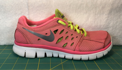 5290975e042a Nike Flex 2013 Pink Gray   Yellow Running Shoes Sneakers ~ Girl s Size ...