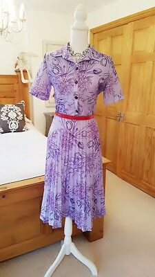 VINTAGE original 40's 50's 60's 70's 80's 90's  lilac  tulip glam tea dress 12