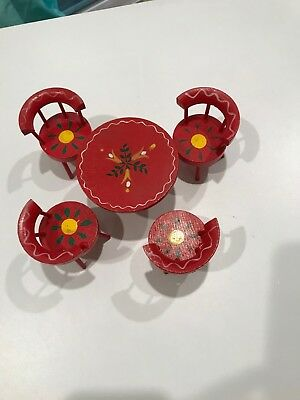 Vintage Doll House Furniture Mini Dining Table Chairs Floral Hand Painted Japan
