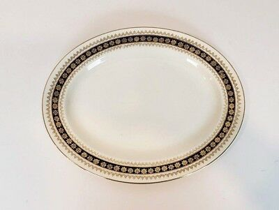 Crown Ducal Oval Plate Made in England White Blue Gold Vintage Platter AGR