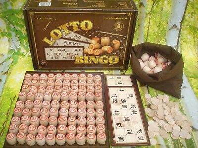 New Handmade Russian Wooden Lotto Bingo Loto Family Party Traditional Board Game