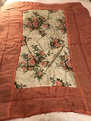 Vintage Satin Quilt/Eiderdown/Bed Topper/40s/50s/60s/Shabby/country Cottage/