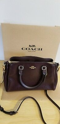 adf7454fe NWT COACH F32018 Patent Leather Mini Sage Carryall Satchel Purse Bag -  Oxblood