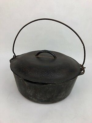 "Rare VINTAGE ANTIQUE LODGE WARE CAST IRON Lid 10"" LARGE DUTCH OVEN *VGC*"