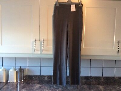 Ladies size 8 long classic straight leg grey trousers from M&S