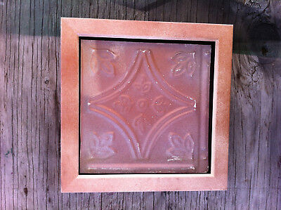 "Tin Ceiling Art Distressed Vintage Copper Pink Wood Frame 6""X6"" USA Made #704"