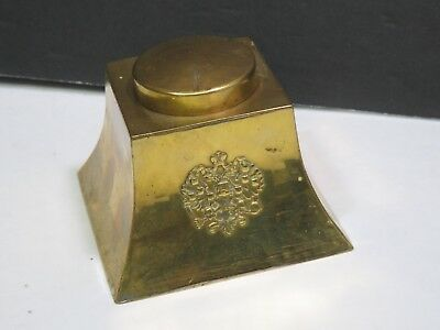Vintage Arts Craft Mission Hammered Brass Inkwell Roycroft Stickley Stye Era