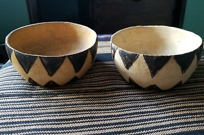 Two Original handmade Bowls wood, with burnt pattern from Ghana Africa