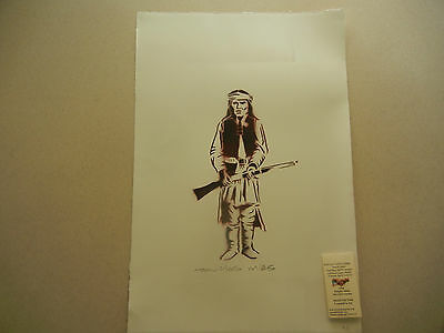 "authentic Apache Craft Apache warrior stencil painting on paper 18x24""-273"