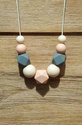 Silicone Sensory (Was Teething) Necklace Peach Cream Grey Beads Gift For Mum