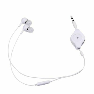 Retractable Earphone 3.5mm In Ear Bass Stereo Headset Mic For Smartphone MP3