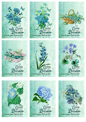 Card Toppers x 9 blue flowers/scrapbooking flowers/blue cardmaking/craft vintage
