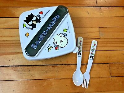 Sanrio Badtz Maru Food Container with Utensils and Storage NEW