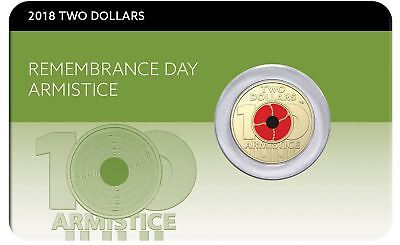 2018 $2 REMEMBRANCE DAY ARMISTICE Poppy Coin on Card