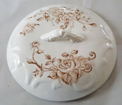 Antique Ironstone Chamber Pot Lid Brown Roses Pattern Victorian