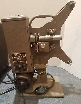Vintage Keystone R-37 8mm Movie Projector with Case and Extra New Bulb