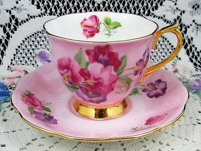 Royal Albert Sweet Pea Over Pink Ground Gold Handle Tea Cup And Saucer