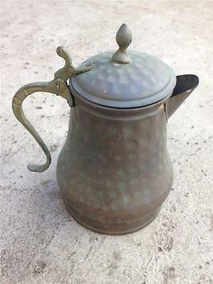 Vintage Hammered Copper Coffee Pot or Teapot with Hinged Lid & Brass Handle