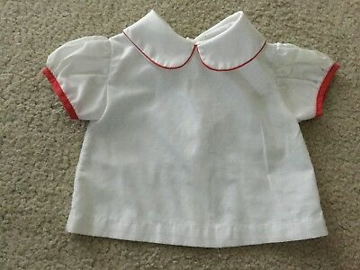 Vintage Girls Newborn Blouse Size 0-14 lbs White Red Tipped Short Sleeves 8 1/2""