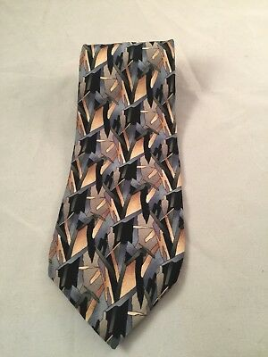 Martini Cocktail Collection Mens Tie 100% Silk Blues & Goldish Abstract B2