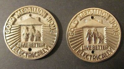 Two (2) Vintage GOLD MEDALLION HOME LIVE BETTER ELECTRICALLY Awards / Medals