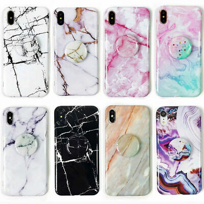 For iPhone XS Max XR 6s 7 8 Plus Marble Pattern Pop Stand Holder TPU Case Cover