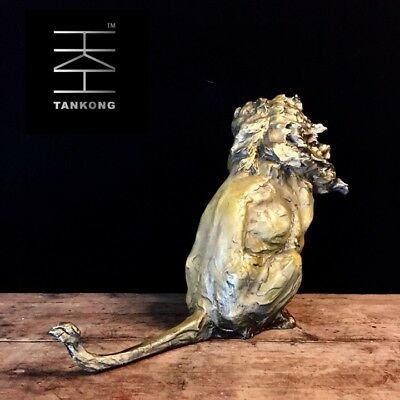 Art Deco Sculpture Abstract Old Lion Wild Animal Bronze Statue