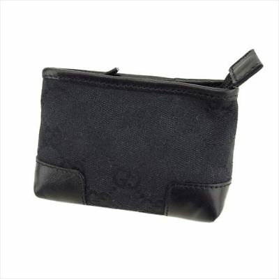 585b445d078b47 Gucci Pouch Bag GG Black Canvas Leather Woman unisex Authentic Used T8204