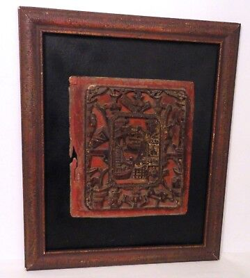 Antique Chinese Hand Carved Wooden Red Lacquer Panel Architectural Vases People