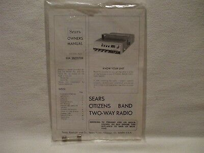 Vtg SEARS Roadtalker 3827 Owners Manual with Temporary Permit for CB Radio Paper