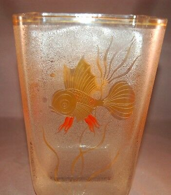RARE Art Deco Glass Underwater Goldfish Vase!  Lots of Gilding! AWESOME!