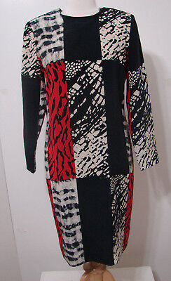 ANNE CRIMMINS UMI Silk Black White Red Abstract Print Box Panel LS Dress NWOT 6