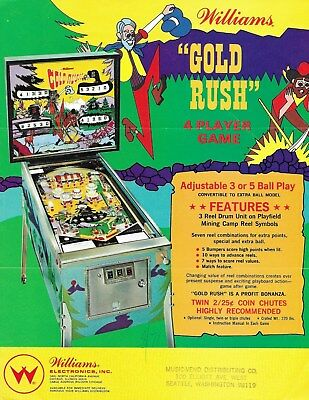 Williams Pinball Flyer - Brochure. Gold Rush. 1971 Free Shipping