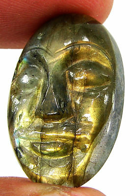 24.05 Ct Natural Labradorite Gemstone Hand Carved Face Faces Carving Cab - 10529