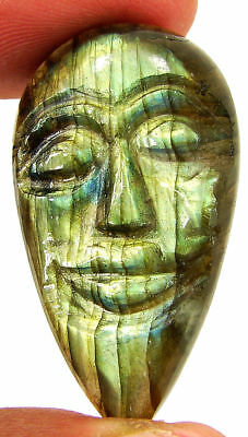 44.10 Ct Natural Labradorite Gemstone Hand Carved Face Faces Carving Cab - 10499