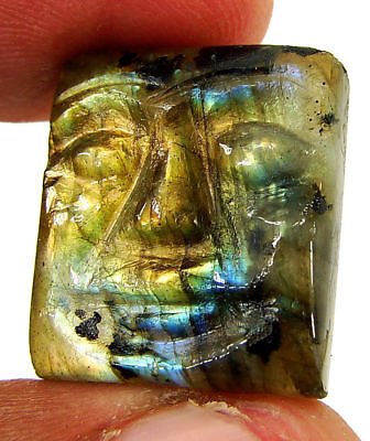 21.60 Ct Natural Labradorite Gemstone Hand Carved Face Faces Carving Cab - 10537