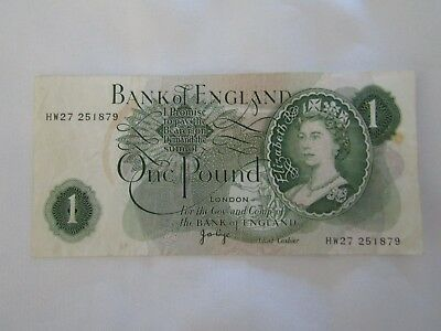 Bank of England, J B Page, One pound banknote, 1970-78, Circulated