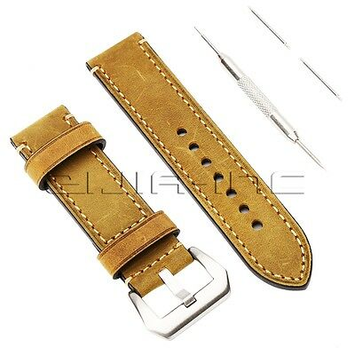 22mm Genuine Leather Vintage Watchband Watch Strap Wristwatch Band w/ Lug Tool