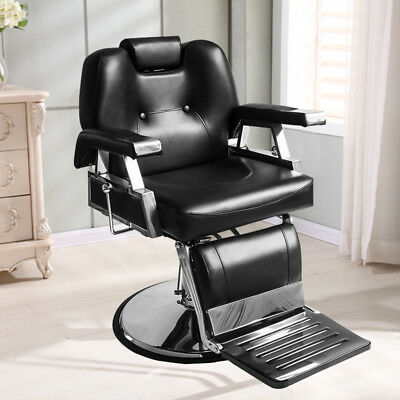 Black Lift & Reclining Salon Hairdressing Chair Barber Chair PU Leather Footrest