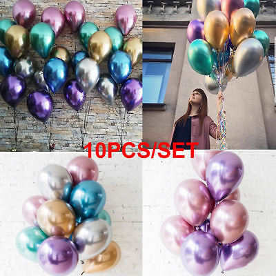 "10pcs 12"" Latex Balloons Metallic Helium Birthday Wedding Hen Party Baby Shower"