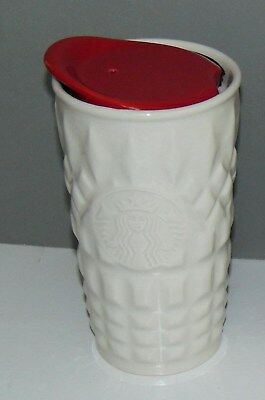 2014 STARBUCKS WHITE QUILTED KNIT CERAMIC SIREN TRAVEL MUG RED LID + Gift Card