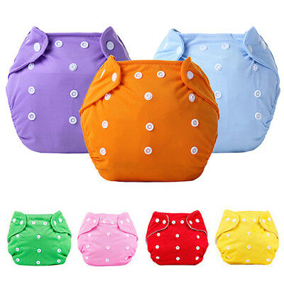 Reusable Baby Nappy Dotted Cloth Washable Diapers Soft Covers Adjustable Beamy