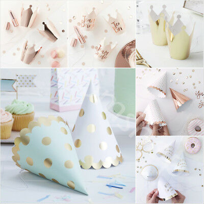 Foiled Paper Party Hats Crowns Birthday Hen Do Christmas Decoration Accessories
