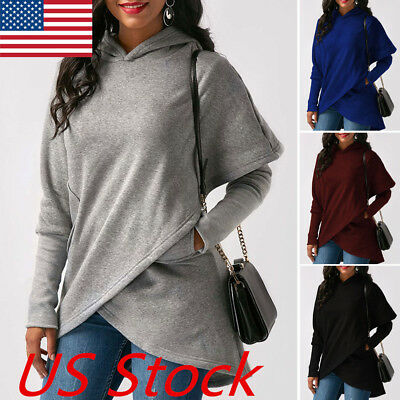 Fashion Women Casual Long Sleeve Hoodie Jumper Pullover Sweatshirt Tops Shirt US